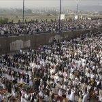 Yemenis perform Eid al-Fitr prayers before a demonstration demanding the resignation of Yemen's President Ali Abdullah Saleh, in the capital, Sanaa.