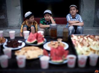 Muslim boys waiting for Iftar.