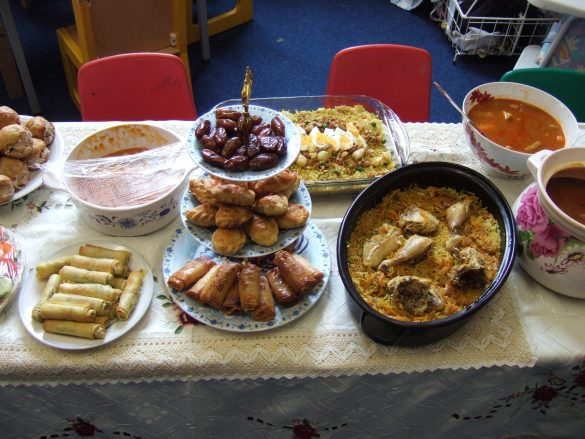 Traditional foods set out for an Islamic walima.