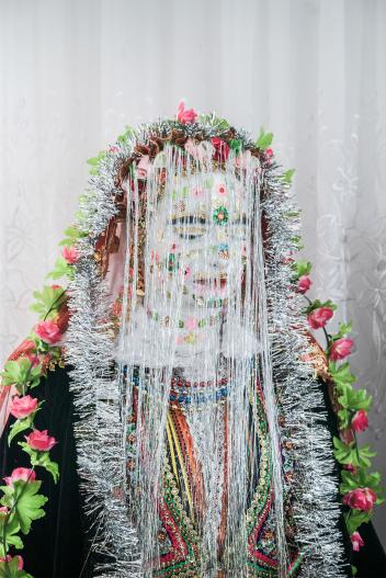 Bulgarian Muslim bride with traditional makeup
