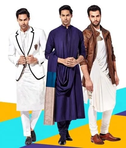 Indian men in stylish kurtas