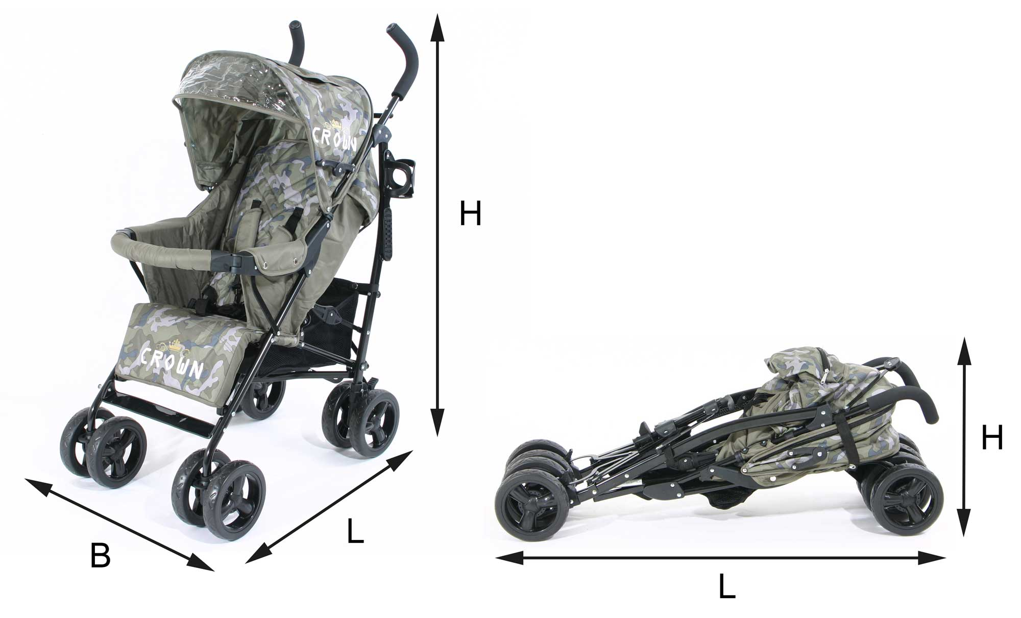 Crown Buggy Stroller Deluxe Light Handy Top Quality Children Buggy Cart