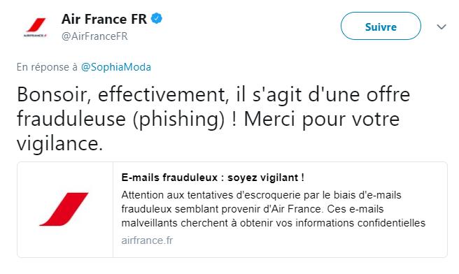 Capture d'écran du Twitter d'Air France.