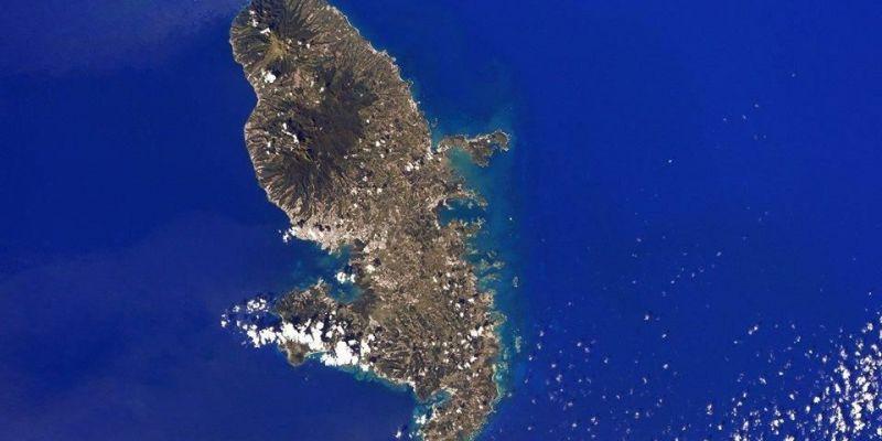 la Martinique vue de l'espace à partir d'une station spatiale internationale