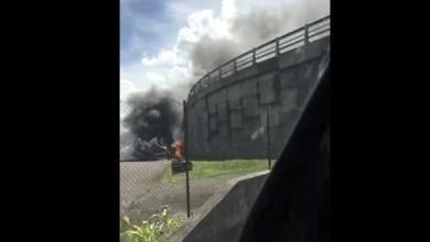 Photo of Une voiture en flamme juste au niveau du pont du TCSP de l'aéroport (VIDÉO)