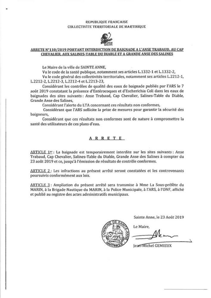 L'arrêté municipal N°110/2019
