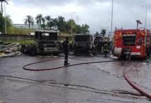 Photo of Plusieurs camions partent en fumée lors de l'incendie de ce samedi matin à la Jambette