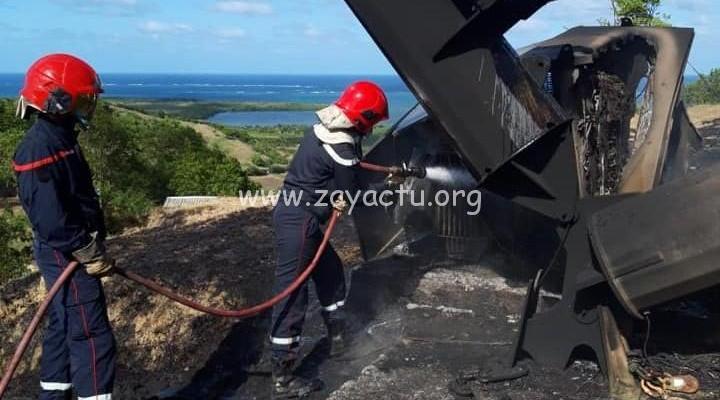 Un incendie au Vauclin suite à la chute d'une éolienne
