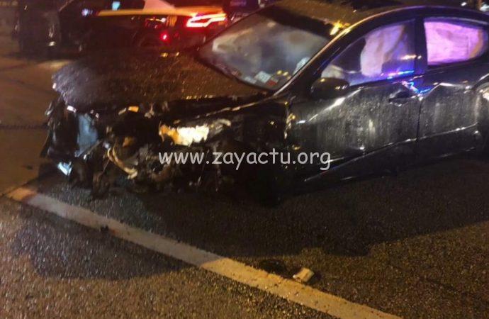 Voiture d'Arly Larivière victime d'un accident de la route.