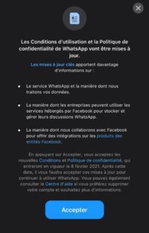 Nouvelle condition d'utilisation Whatsapp