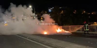 Feu éteint sur le pont de l'abattoir par les pompiers UNE