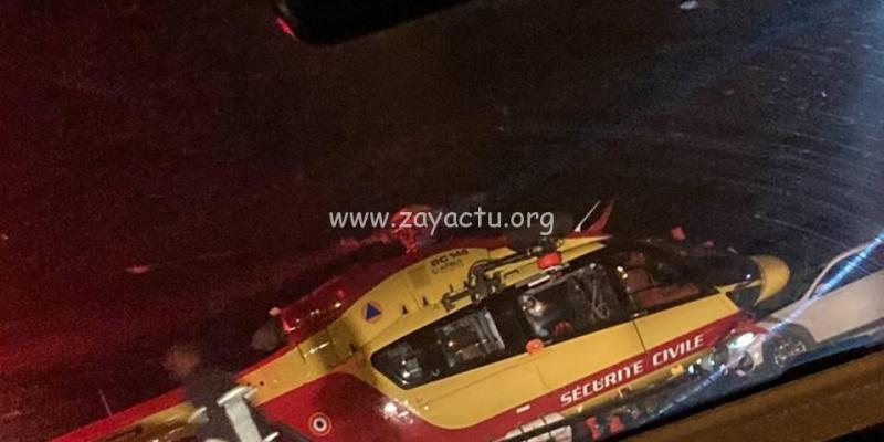 Dragon 972 en intervention sur un accident de la route à Trinité. Photo : réseaux sociaux.