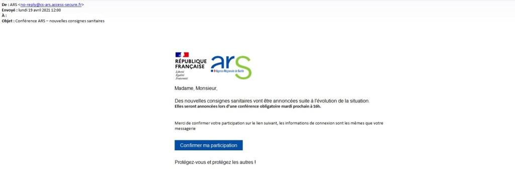 Mail frauduleux de avec l'image de l'ARS