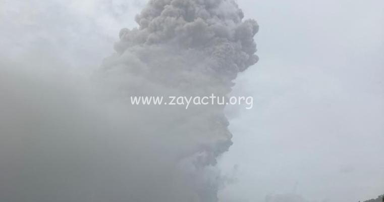 Seconde explosion observée dans le volcan la Soufrière à Saint-Vincent. Photo : UWI Seismic Research Centre