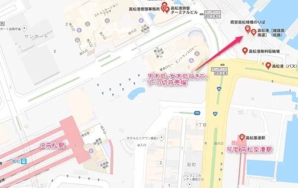 雌雄島海運(しゆうじまかいうん)のフェリー切符売り場の地図
