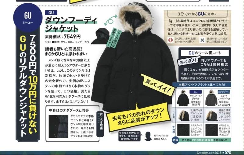 雑誌MONOQLOで紹介されたGUのダウンジャケット
