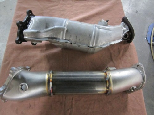 small resolution of mike wanted a boost in power so we started with a host of alpha bolt ons from ams including their downpipes and y pipe w muffler