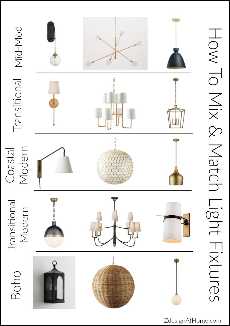 mixing matching light fixtures