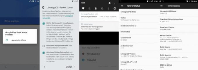 LineageOS even older smartphones supplied with current security patches and versions of Android (image: ZDNet.de).