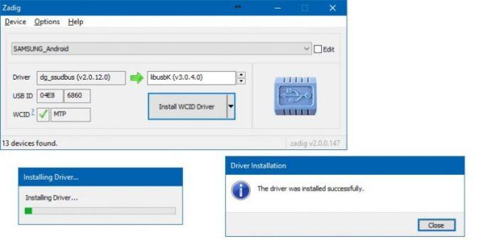 Heimdall-Zadig driver install (image: ZDNet.de)