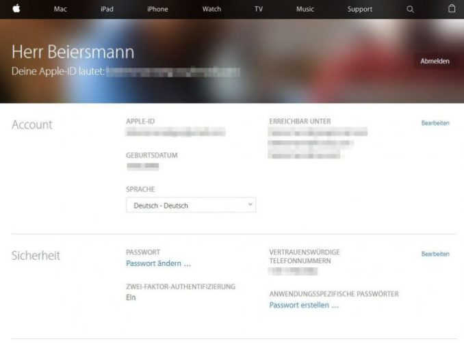 on the Apple Web site owners of an Apple ID can change not only your password, but enable two factor authentication, which in addition prevents account theft (screenshot: ZDNet.de)