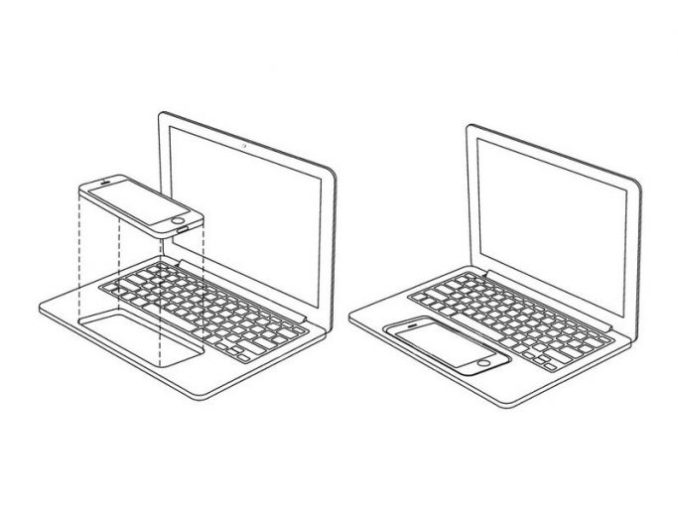 an iPhone takes the place of the trackpad (image: Apple / USPTO).