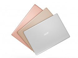 Acer Swift 1 in the colours of salmon pink, luxury gold and pure silver (image: Acer)