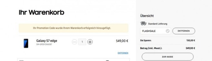 Galaxy S7 for 449 euros (screenshot: ZDNet.de)