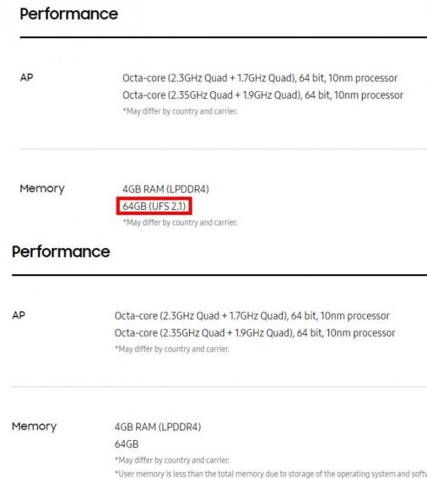 Samsung Galaxy S8: the note on UFS-2.1 storage is now missing (screenshot: ZDNet.de)