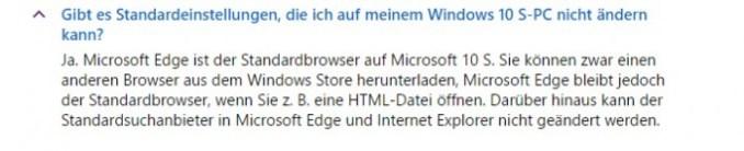Windows 10 S: default browser is set (screenshot: ZDNet.de)