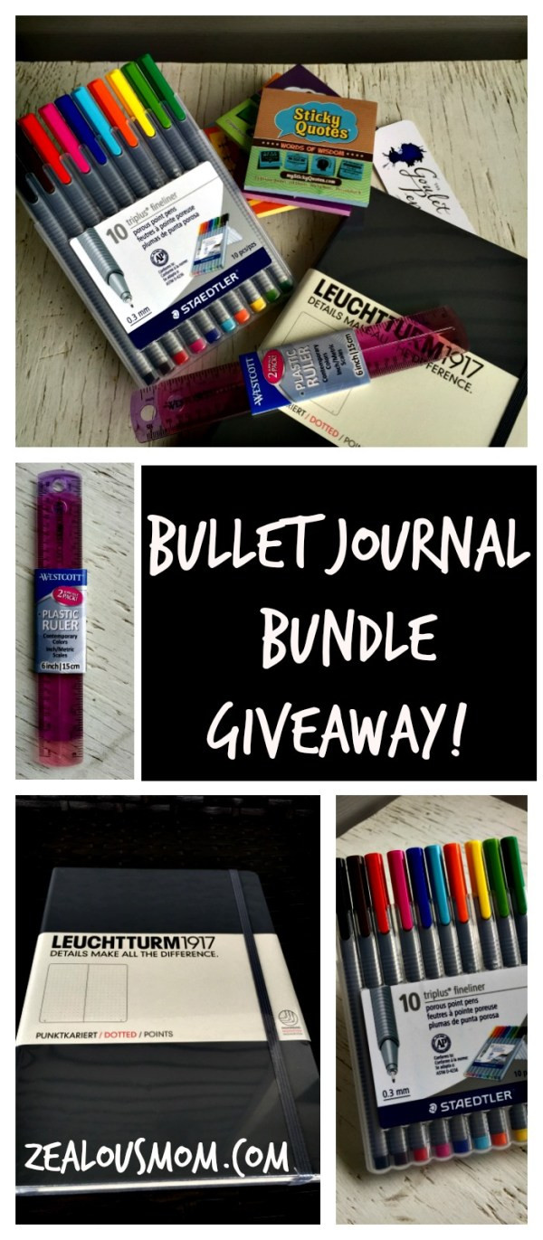 Enter to win this amazing Bullet Journal Bundle Giveaway! A tri-hosted giveaway with Goulet Pens and My Sticky Quotes! @zealousmom.com