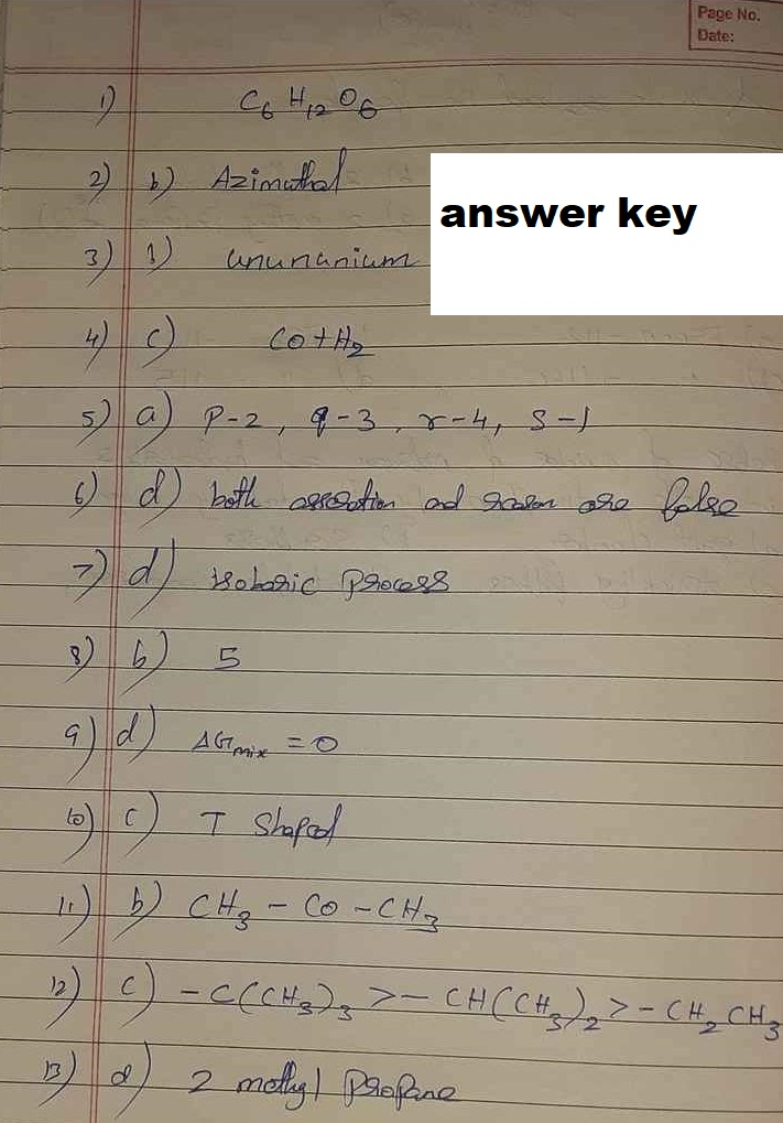 11th Half Yearly Chemistry Answer Key