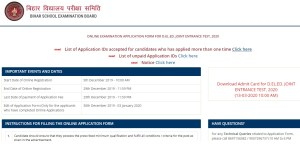 BSEB DELED Admit Card 2020 For Joint Entrance Test available from 13th March.