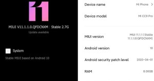 Mi CC9 Pro Android 10 Update