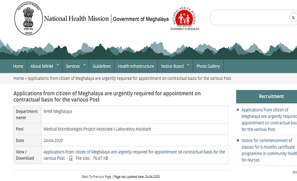 NHM Meghalaya Recruitment