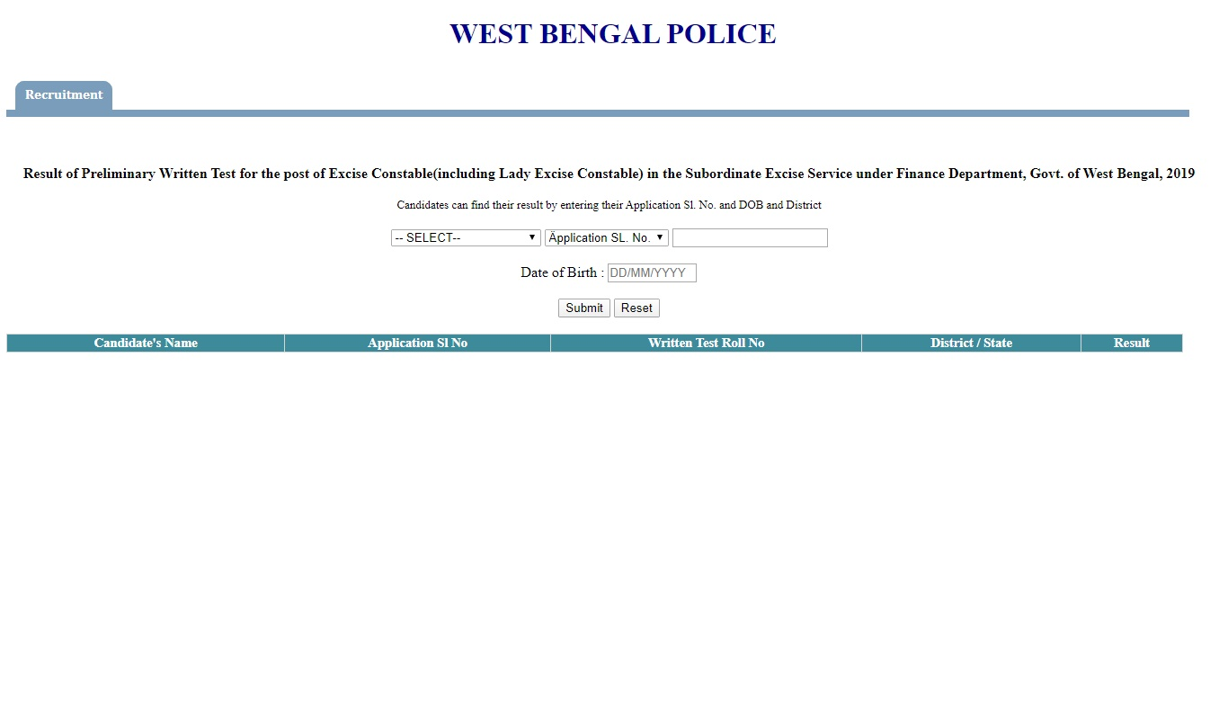 WB Excise Constable Result 2019