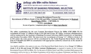 IBPS CRP RRB IX Notification