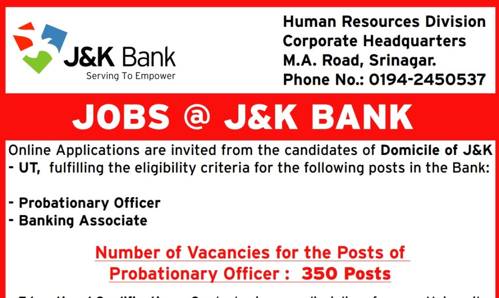 JK Bank Recruitment