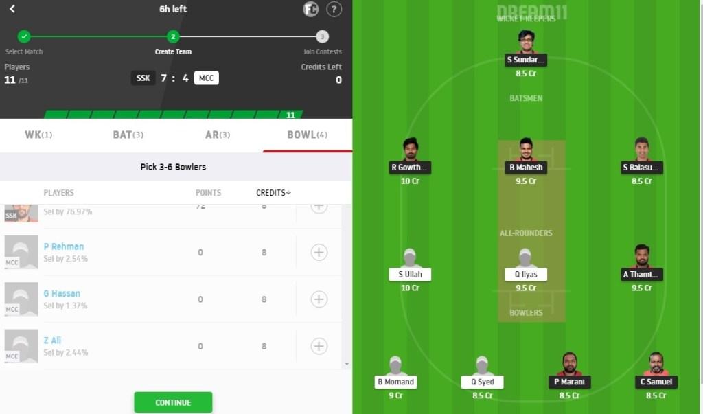 SSK vs MCC Dream11 Prediction