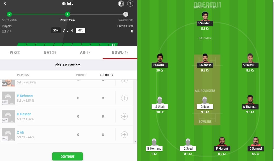 SSK vs MCC Dream11 Prediction