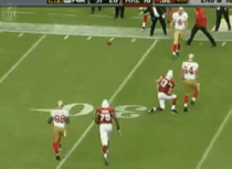 49ers bench enters the field during a live ball with 2 seconds remaining. Credit: NFL/Fox Sports