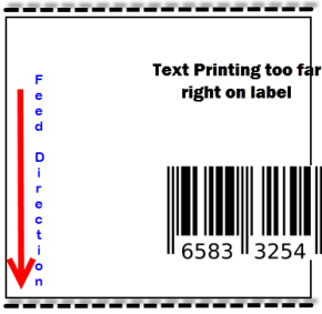 Printed image is incorrectly positioned on the label