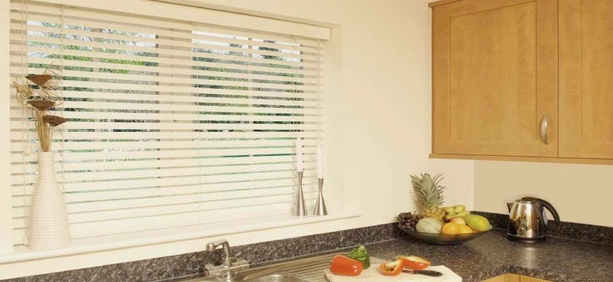 blinds for kitchen windows green backsplash sink a complete guide zebrablinds aluminum venetian