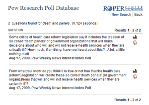 Pew Research death panel questions