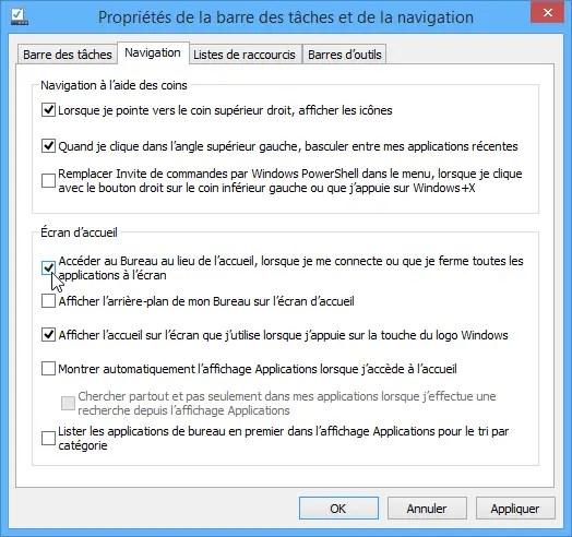 acceder bureau windows 8 1 - Démarrer Windows 8.1 sur le bureau