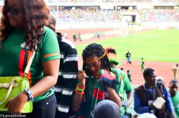 females fans at levy mwanawasa supporting Zambia national soccer team