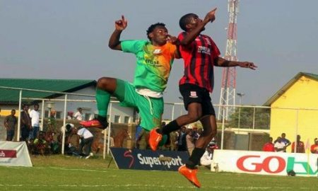 David Owino against Zanaco attack during mtn faz super league fixture 29