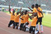 Brian Mwila celebrate his goal Zambia vs algeria