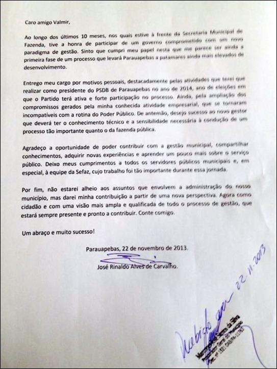 Carta de demissão de Zé Rinaldo
