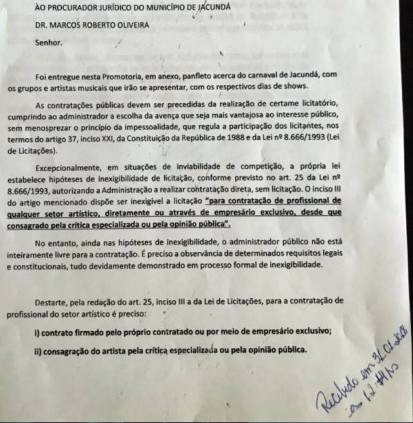 documento do mp sobre a contratação de bandas